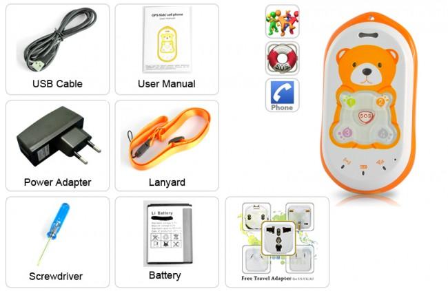 Full box bộ sản phẩm thiết bị định vị GPS trẻ em