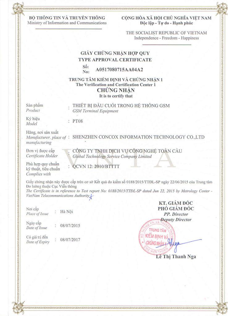 Thiết bị định vị xe máy PT08 đã được cấp giấy chứng nhận hợp quy GSM