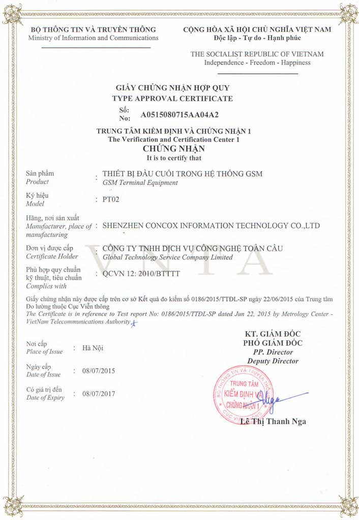 Thiết bị định vị xe máy PT02D đã có giấy chứng nhận hợp quy GSM