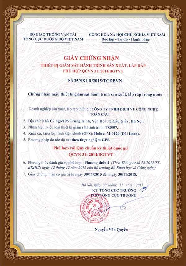 Thiết bị định vị xe tải TG007 đã có giấy chứng nhận hợp chuẩn của bộ GTVT