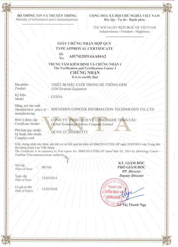 Thiết bị định vị cầm tay GT03A đã có giấy chứng nhận hợp quy GSM